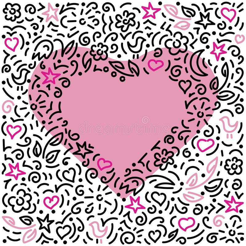 Doodles background . Pink Heart on white background. Vector hand drawn illustration stock illustration
