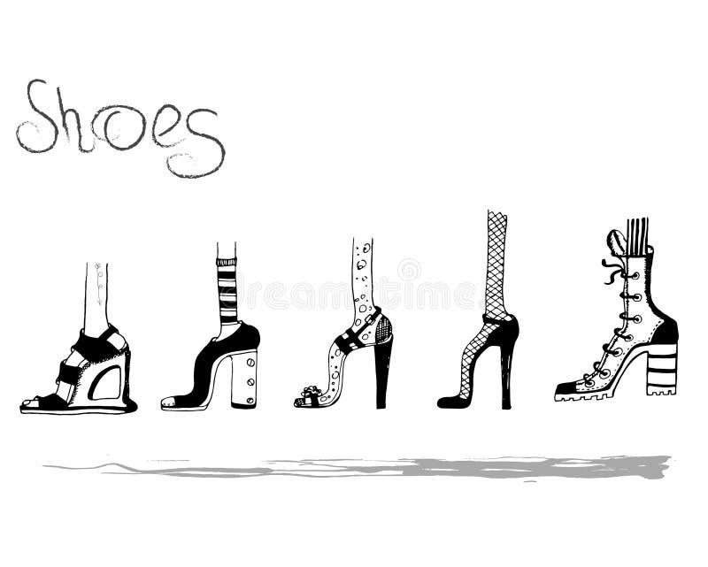 Doodles butów mody miasta dziewczyny kobiet stylu nowożytny spacer obrazy stock