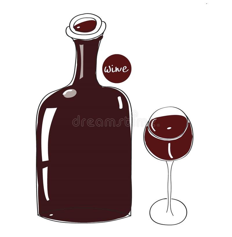 Doodles butelek butelki szkła wina czerwieni stylu kuchenny smak fotografia royalty free
