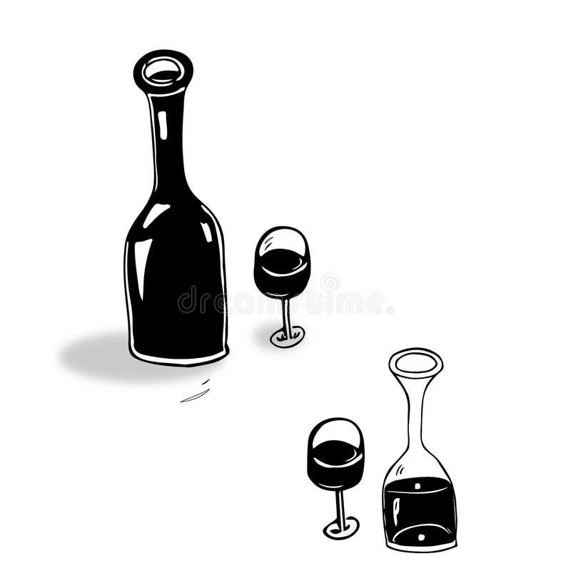 Doodles butelek butelki szkła wina czerwieni stylu kuchenny smak zdjęcie stock