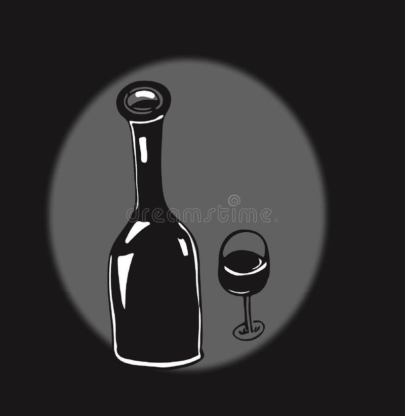 Doodles butelek butelki szkła wina czerwieni stylu kuchenny smak zdjęcia royalty free