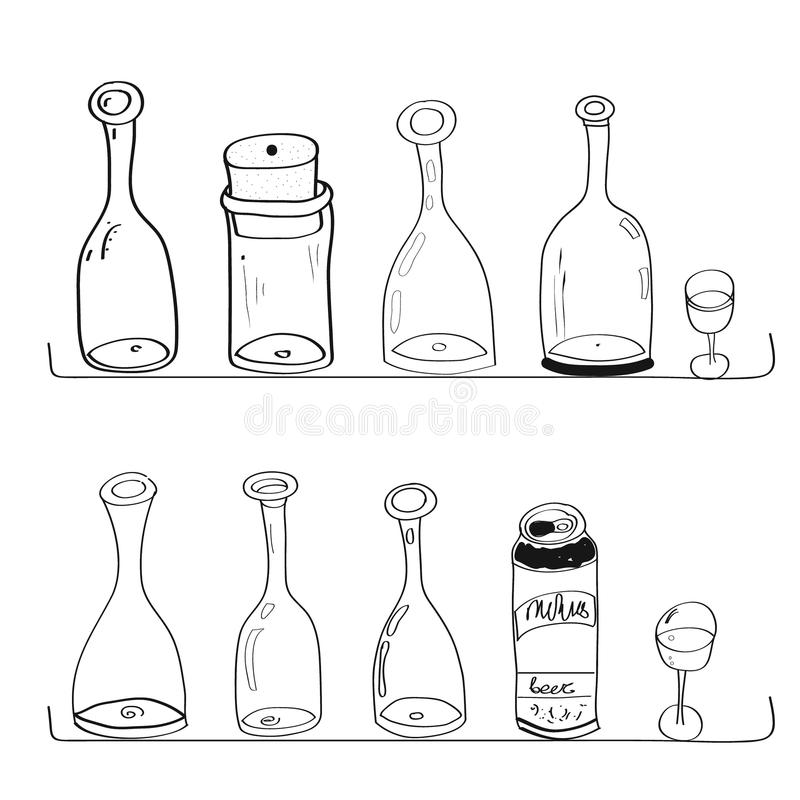 Doodles butelki wino wykłada krzywa gościa restauracji stylu kucharstwo zdjęcia stock