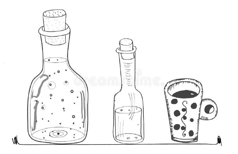 Doodles butelkują linii krzyw kucharstwa stylu kuchennego kubek obrazy stock