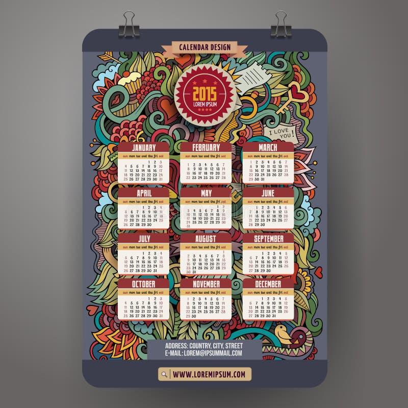 Doodles cartoon Love Calendar 2015 year design stock illustration