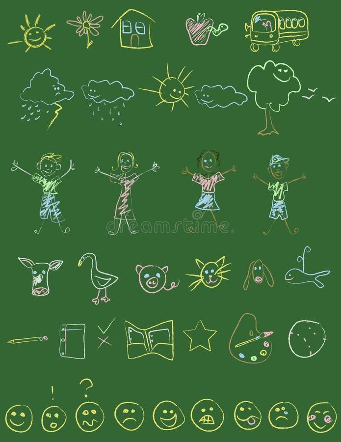 doodles chalkboard иллюстрация вектора