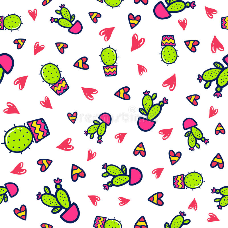 Doodles cute seamless pattern. Color vector background. Illustration with cactuses. Design for T-shirt, textile and prints vector illustration