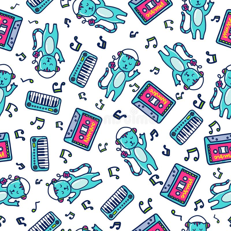 Doodles cute seamless pattern. Color vector background. Illustration with cats and piano. Design for T-shirt, textile and prints stock illustration