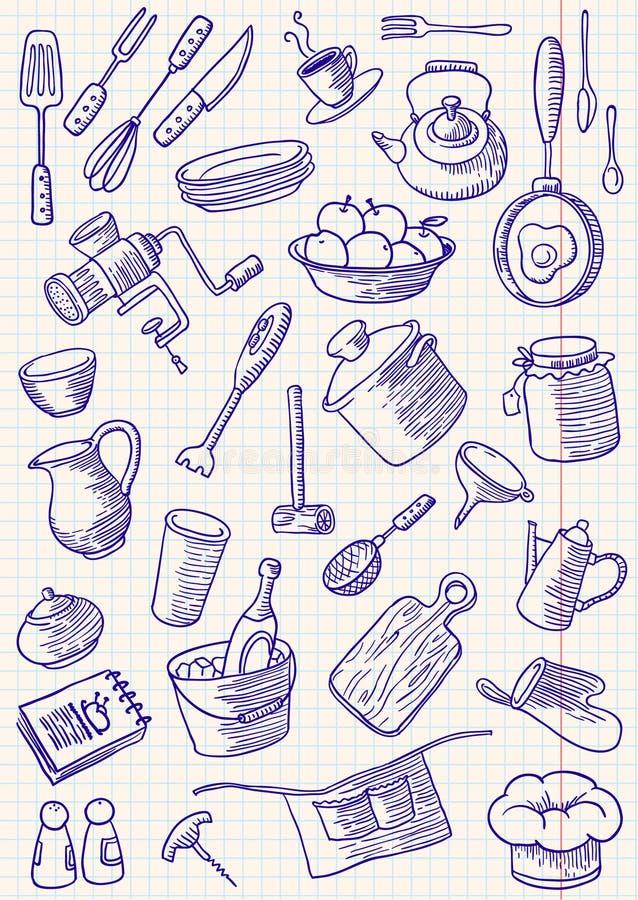 Doodles da cozinha imagem de stock