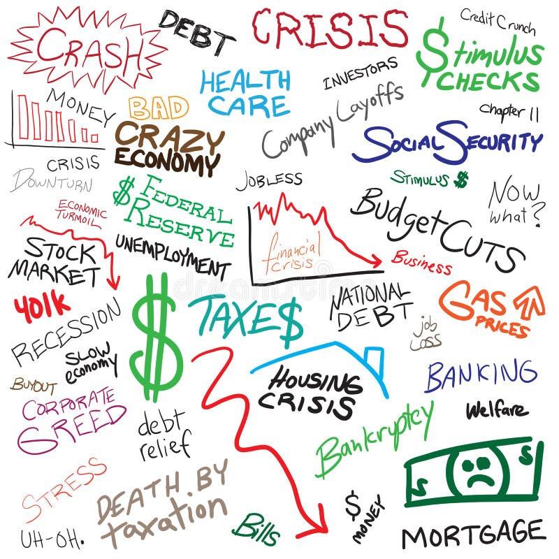 Doodles da economia ilustração royalty free