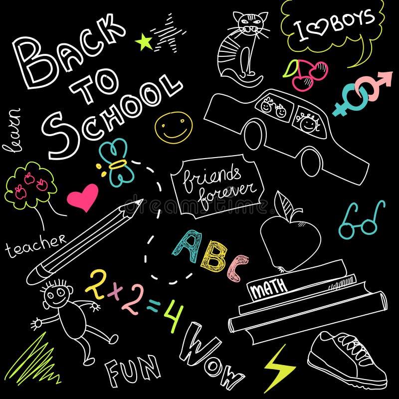 Doodles da escola ilustração stock