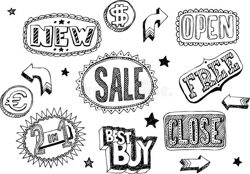 Doodles da loja ilustração royalty free