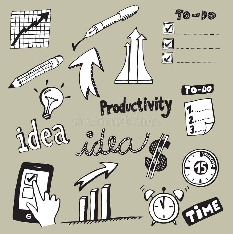 Doodles da produtividade ilustração royalty free