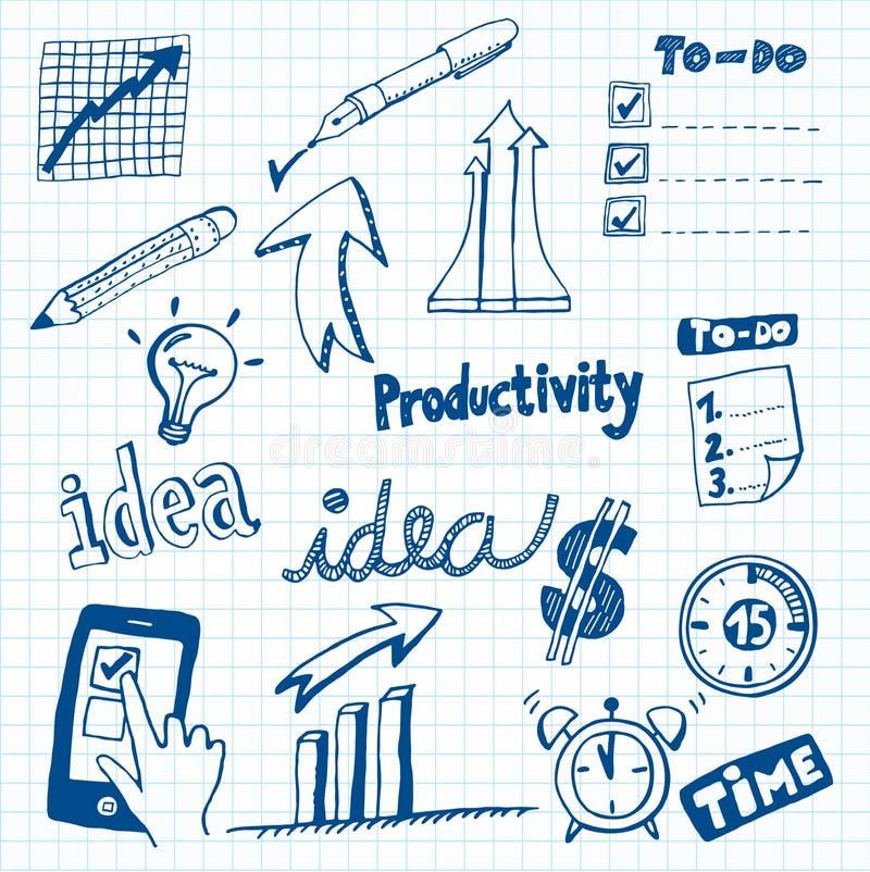 Doodles da produtividade ilustração stock
