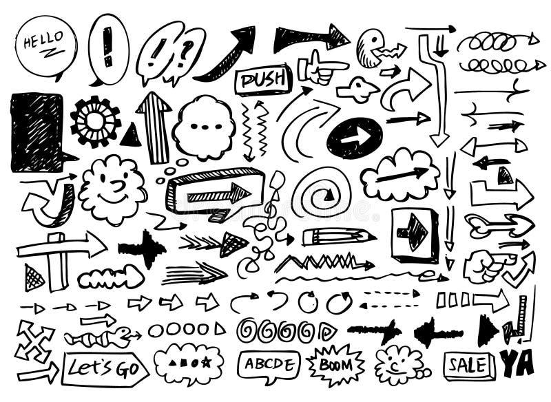 Doodles da seta ilustração stock