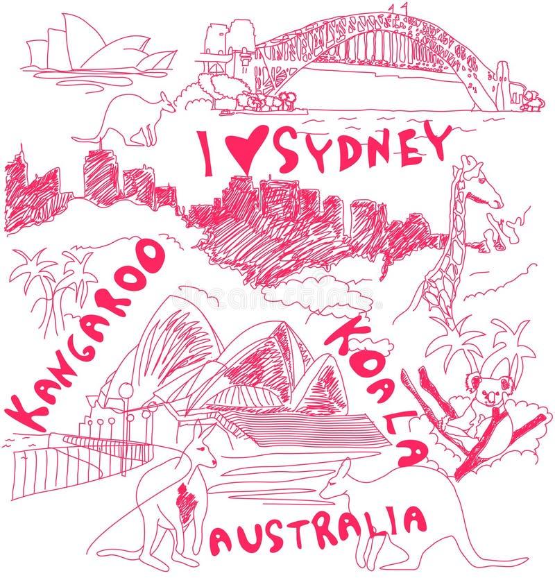 Doodles de Australia ilustración del vector