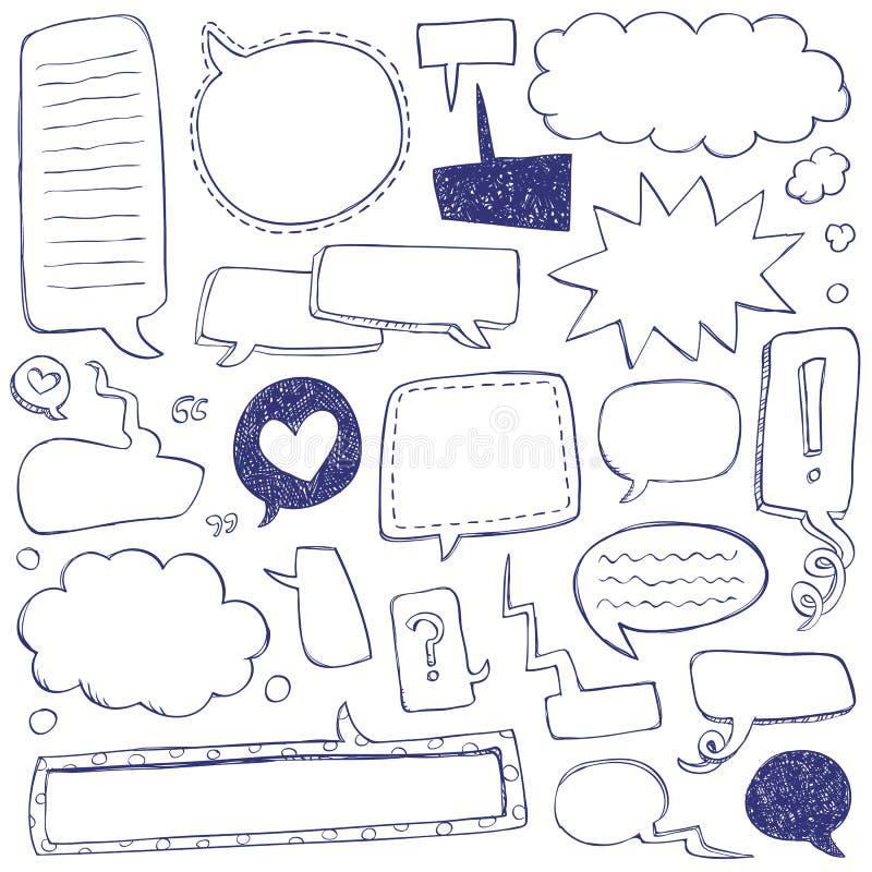 Doodles de la burbuja del discurso stock de ilustración