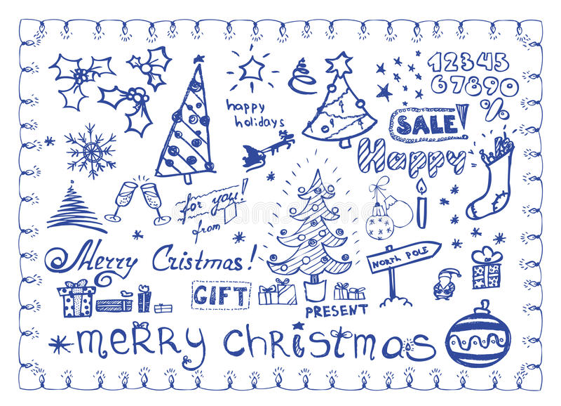 Doodles de la Navidad/ilustraciones del vector fijadas stock de ilustración