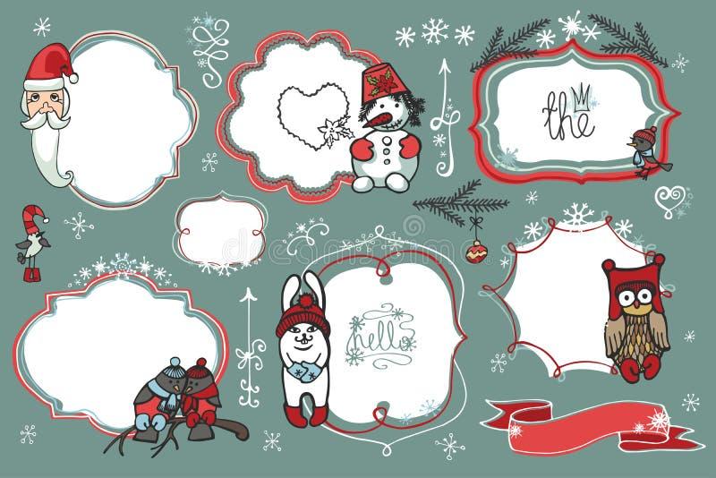 Doodles de la Navidad Insignias, etiquetas con santa, animal, ilustración del vector