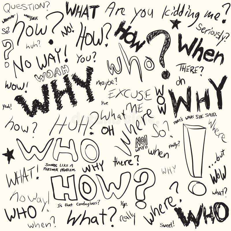 Doodles de la pregunta stock de ilustración