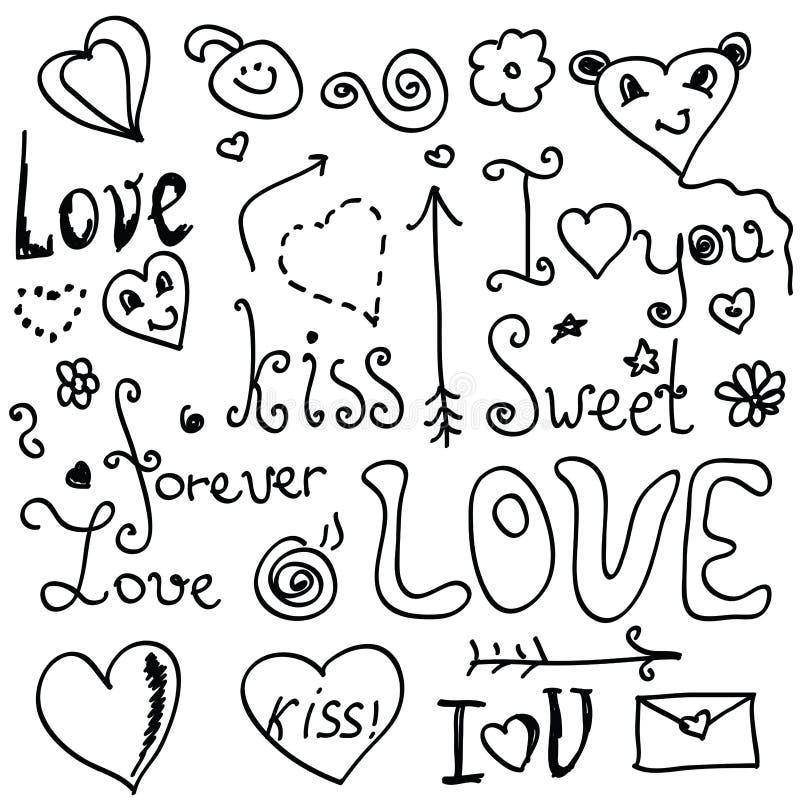 Doodles de la tarjeta del día de San Valentín stock de ilustración
