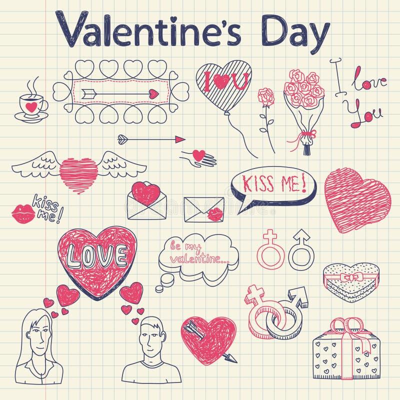 Doodles de la tarjeta del día de San Valentín fijados libre illustration