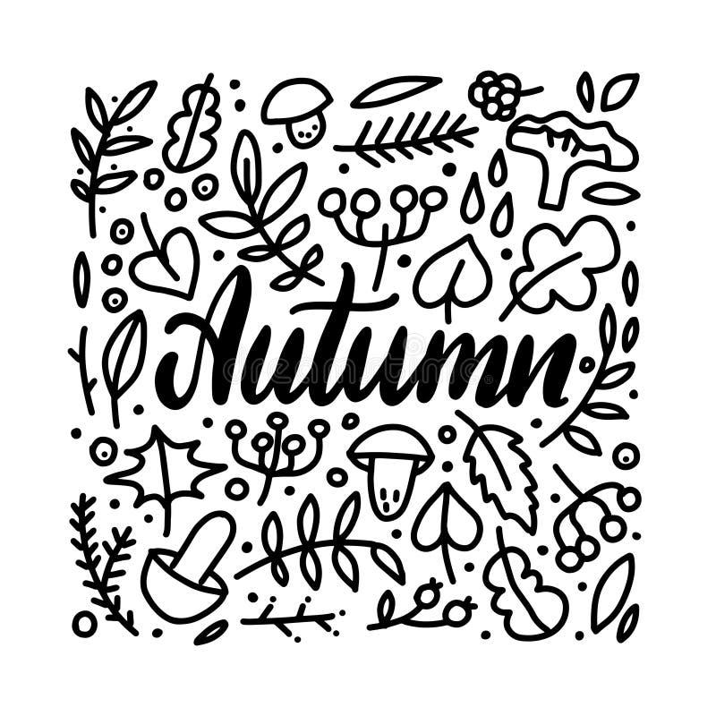 Doodles de las hojas de oto?o fijados Tarjeta de letras exhausta de la mano con las hojas, las bayas y los mushroomes del garabat stock de ilustración