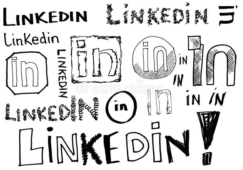 Doodles de Linkedin ilustração do vetor
