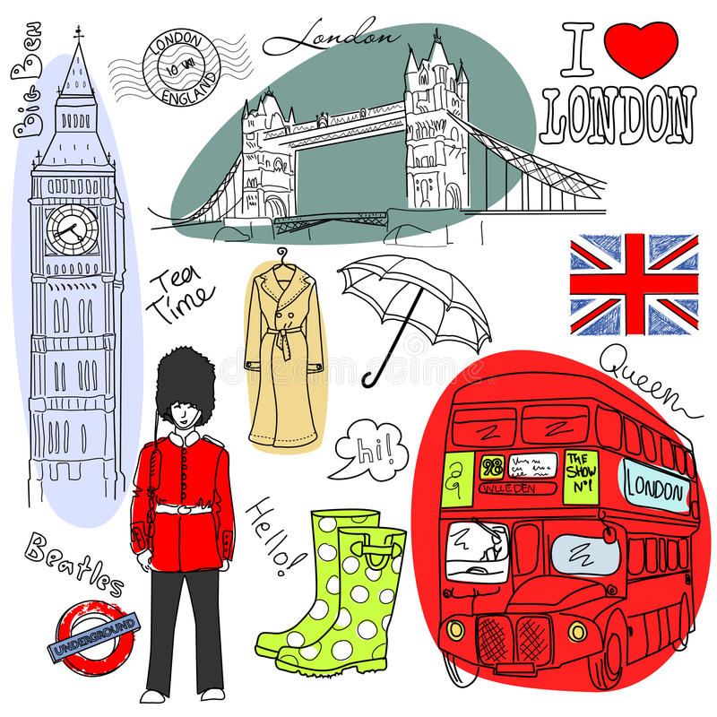Doodles de Londres imagen de archivo libre de regalías
