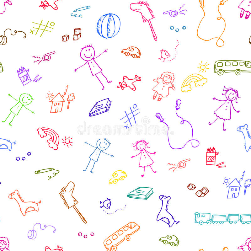 Doodles de los juguetes stock de ilustración
