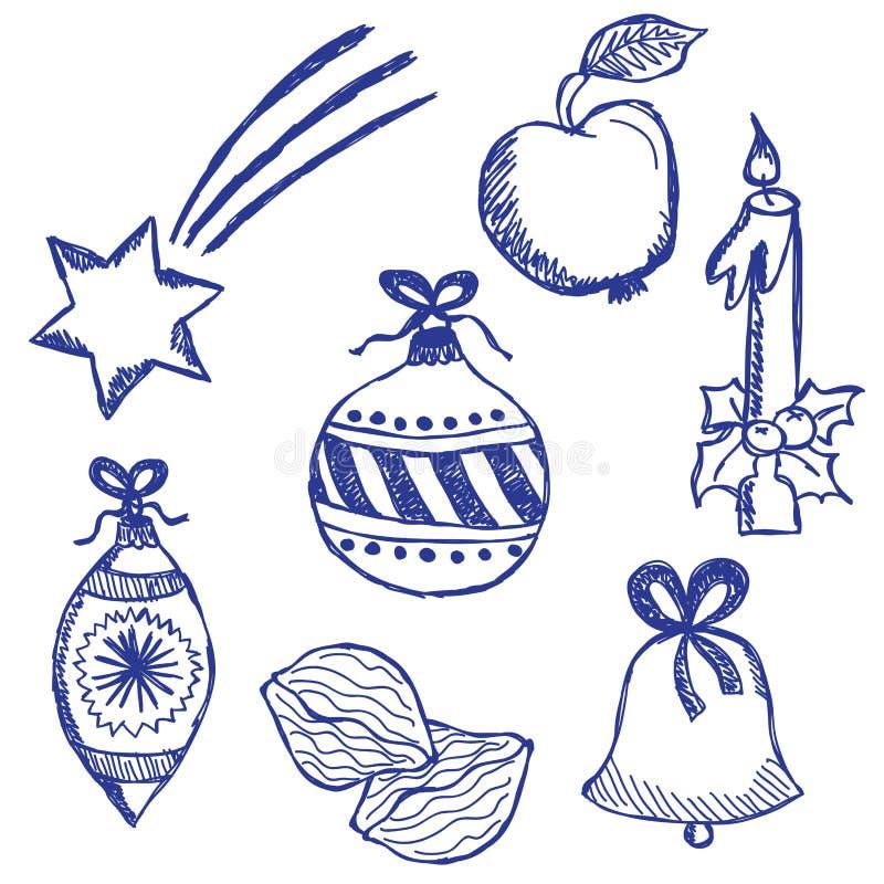 Doodles de los símbolos de la Navidad fijados libre illustration