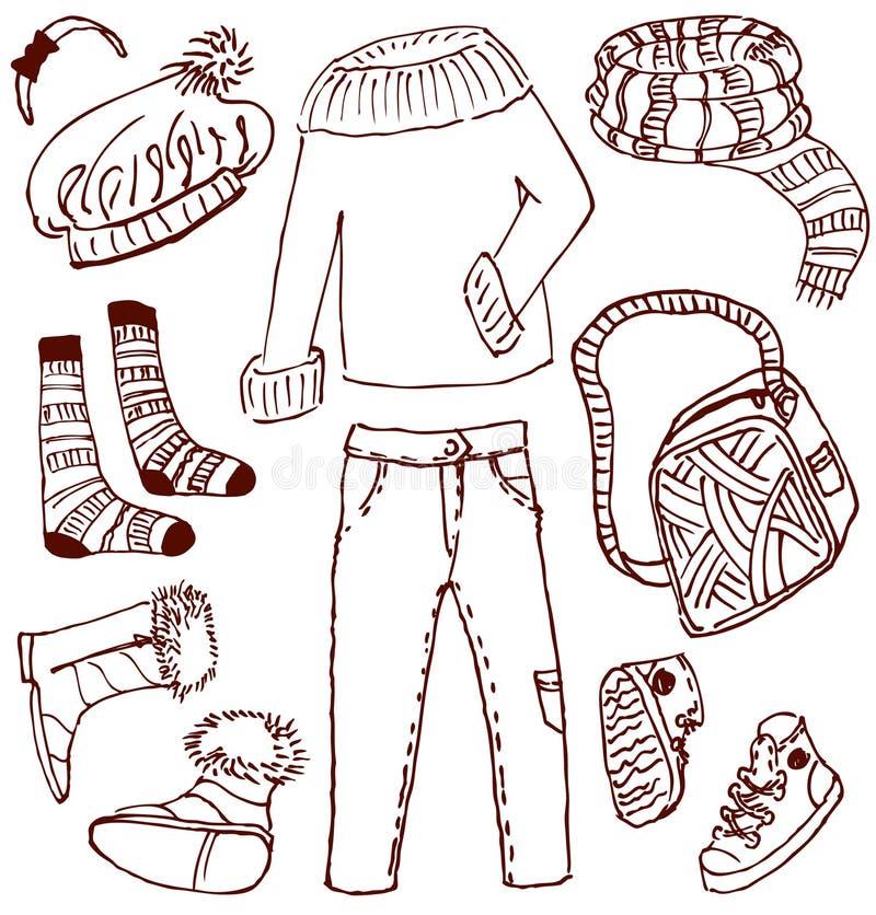 Doodles degli accessori e dei vestiti royalty illustrazione gratis