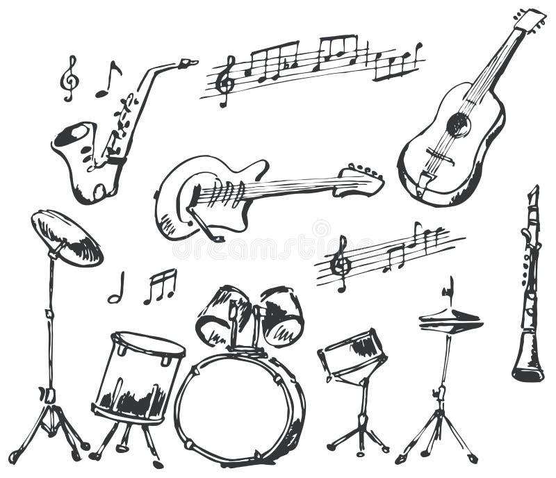 Doodles degli strumenti musicali royalty illustrazione gratis