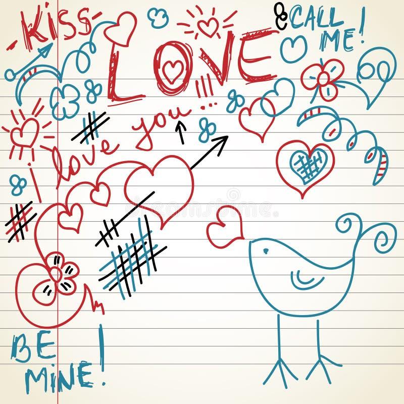 Doodles del amor stock de ilustración