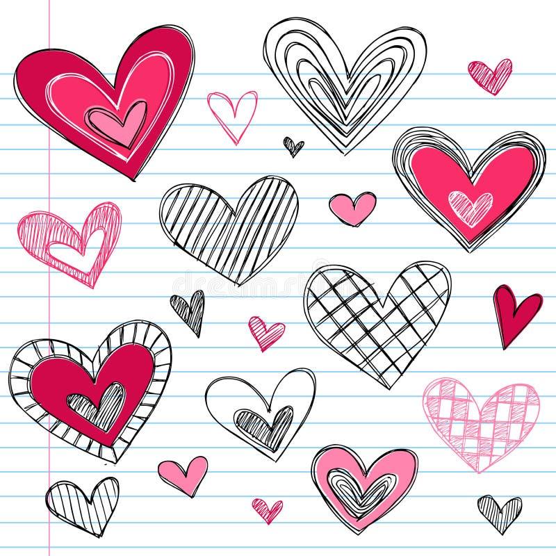 Doodles del amor del día de tarjeta del día de San Valentín de los corazones ilustración del vector