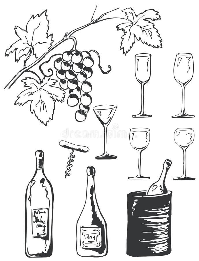 Doodles del conjunto del vino libre illustration