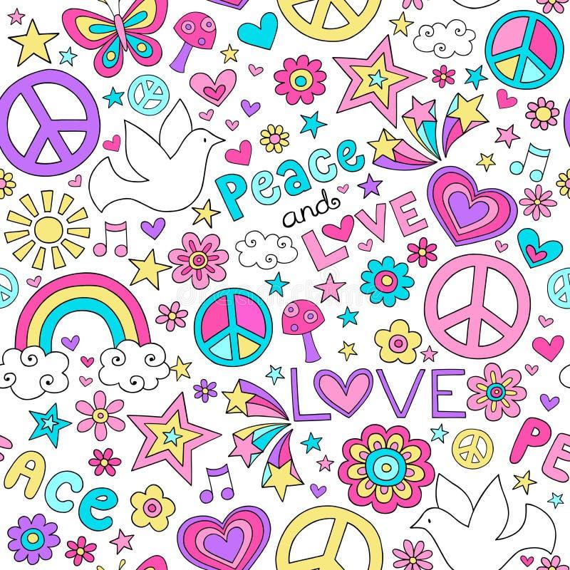 Doodles del cuaderno del modelo de la paloma de la paz y del amor stock de ilustración