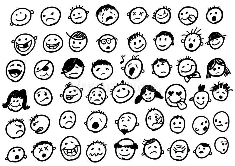 Doodles del Emoticon ilustración del vector