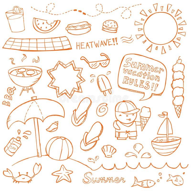 Doodles del verano ilustración del vector