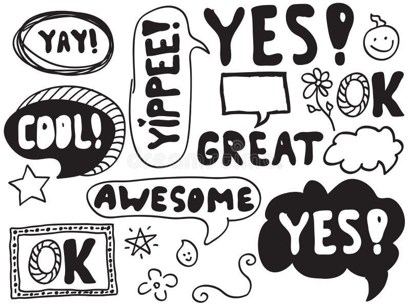 Doodles della bolla di parola illustrazione di stock