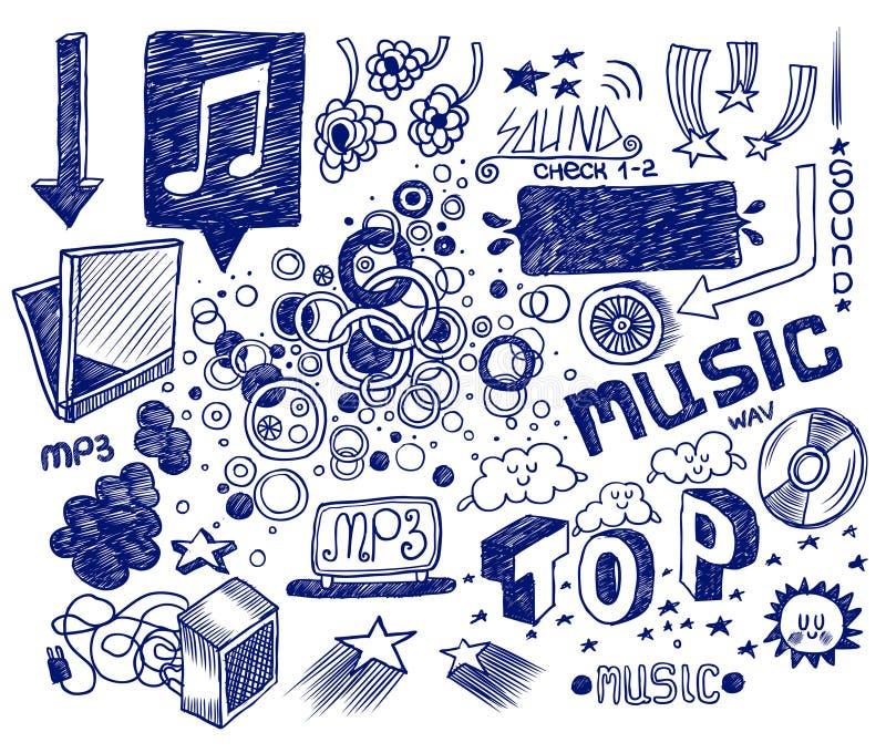 Doodles desenhados mão ilustração royalty free