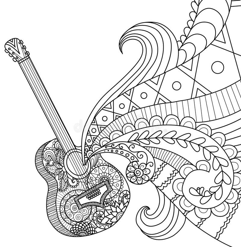 Download Doodles Design Of Guitar For Coloring Book Adult Stock Vector