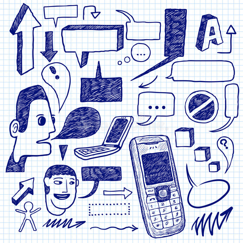 Doodles di comunicazione illustrazione vettoriale