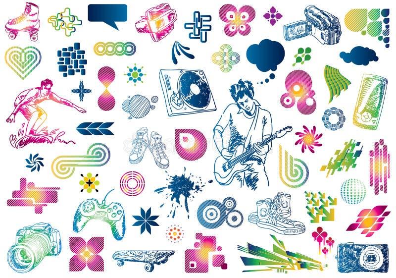 Doodles di disegno di svago illustrazione di stock