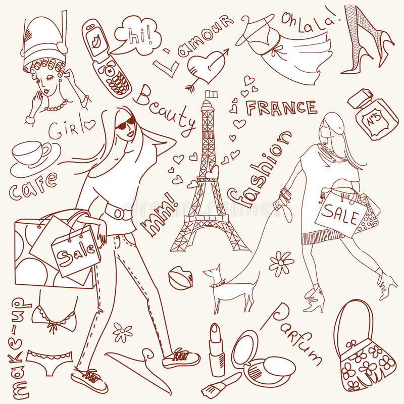 Doodles di Girly illustrazione di stock