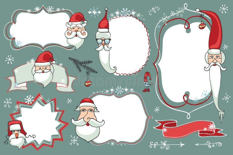 Doodles di natale fissati Distintivi, etichette con Santa illustrazione vettoriale