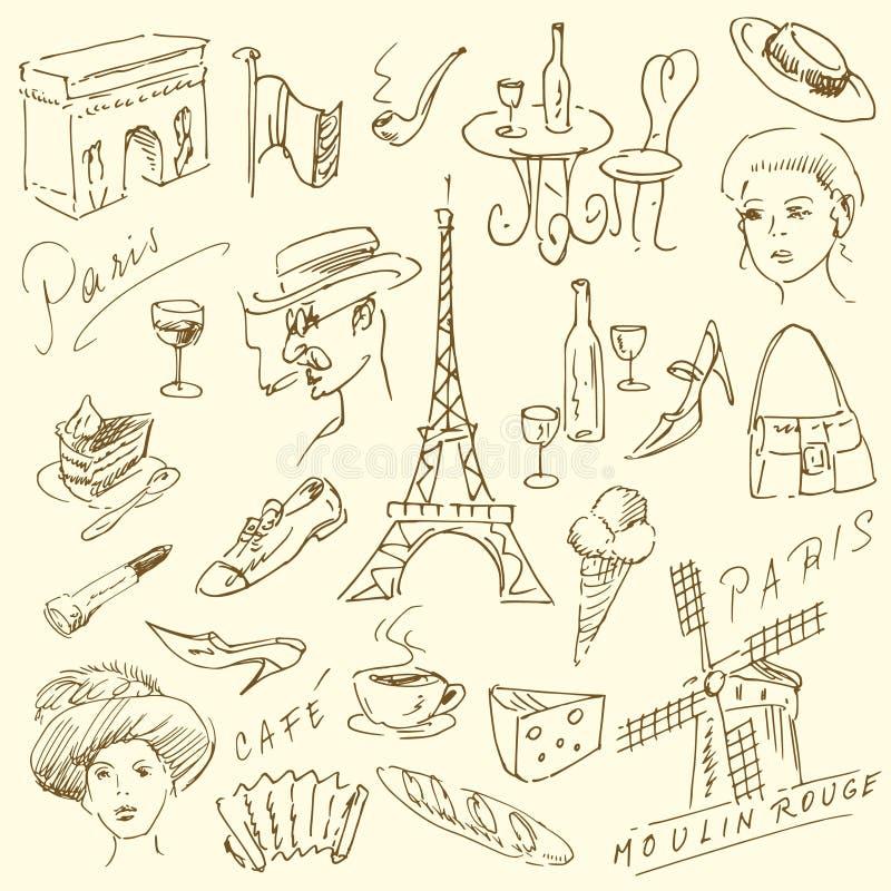 Doodles di Parigi royalty illustrazione gratis