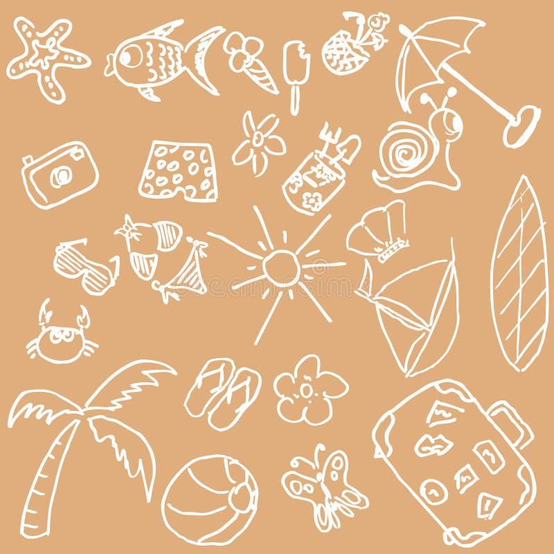 Doodles di tema di estate illustrazione vettoriale