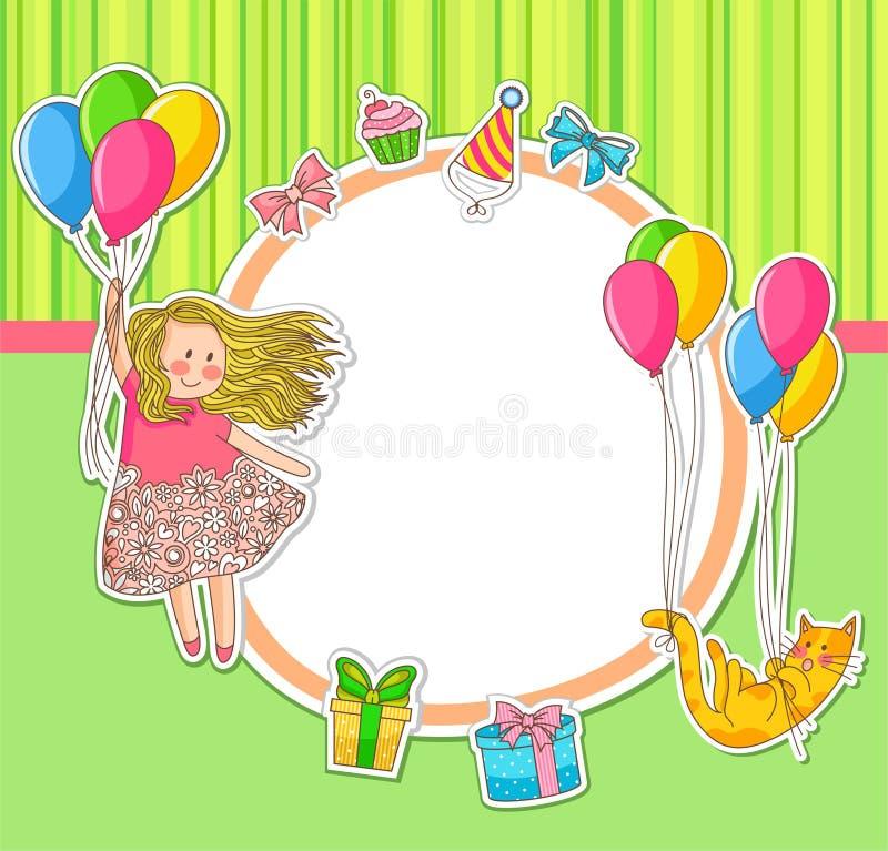 Doodles do aniversário ilustração royalty free