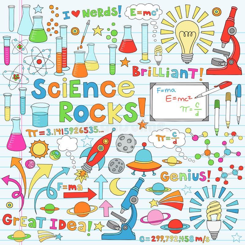 Doodles do caderno da ciência ilustração do vetor
