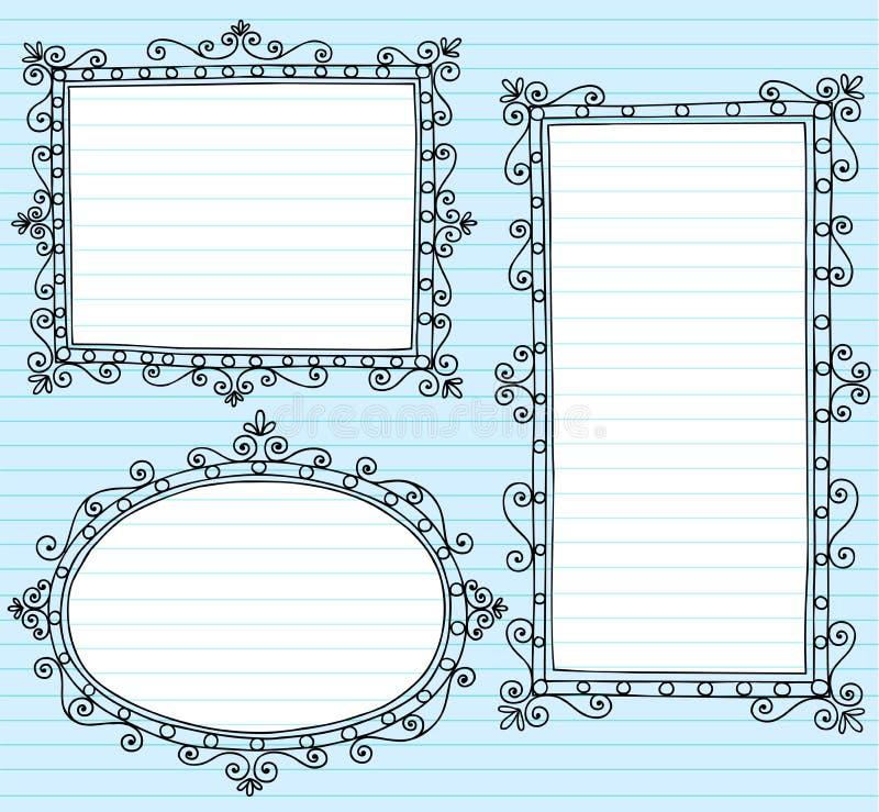 Doodles do caderno das beiras do frame de retrato ajustados ilustração royalty free